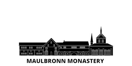 Germania, monastero di Maulbronn piatto skyline di viaggio impostato. Germania, Monastero di Maulbronn città nera panorama vettoriale, illustrazione, siti di viaggi, punti di riferimento, strade. Vettoriali