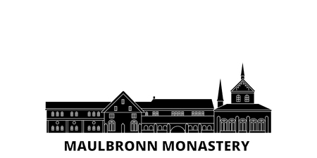 Germany, Maulbronn Monastery flat travel skyline set. Germany, Maulbronn Monastery black city vector panorama, illustration, travel sights, landmarks, streets.