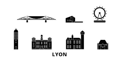 France, Lyon flat travel skyline set. France, Lyon black city vector panorama, illustration, travel sights, landmarks, streets.