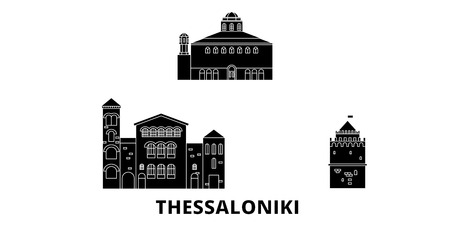 Greece, Thessaloniki flat travel skyline set. Greece, Thessaloniki black city vector panorama, illustration, travel sights, landmarks, streets.
