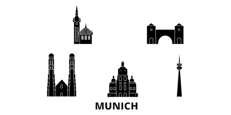 Germany, Munich flat travel skyline set. Germany, Munich black city vector panorama, illustration, travel sights, landmarks, streets.