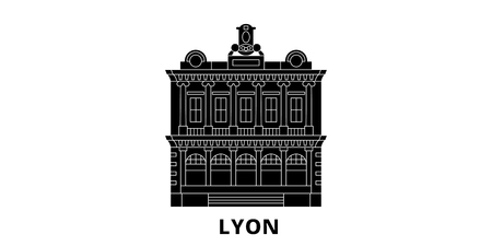 France, Lyon  Landmark flat travel skyline set. France, Lyon  Landmark black city vector panorama, illustration, travel sights, landmarks, streets.