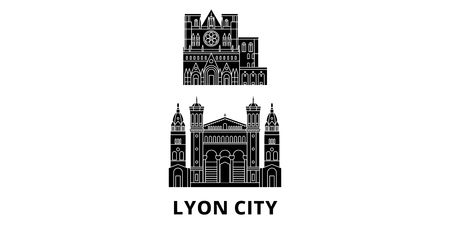 France, Lyon City flat travel skyline set. France, Lyon City black city vector panorama, illustration, travel sights, landmarks, streets.
