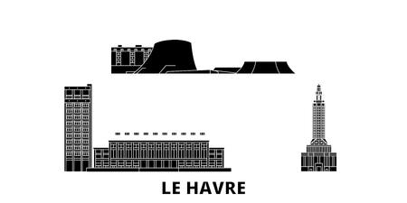 France, Le Havre flat travel skyline set. France, Le Havre black city vector panorama, illustration, travel sights, landmarks, streets.