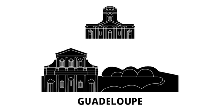Guadeloupe flat travel skyline set. Guadeloupe black city vector panorama, illustration, travel sights, landmarks, streets.