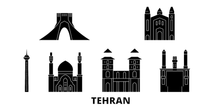 Iran, Tehran flat travel skyline set. Iran, Tehran black city vector panorama, illustration, travel sights, landmarks, streets.