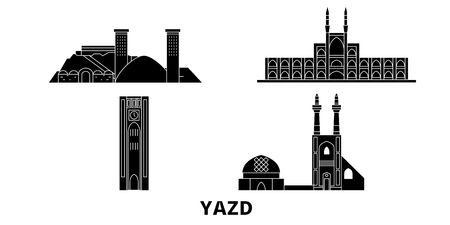 Iran, Yazd flat travel skyline set. Iran, Yazd black city vector panorama, illustration, travel sights, landmarks, streets.
