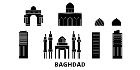 Iraq, Baghdad flat travel skyline set. Iraq, Baghdad black city vector panorama, illustration, travel sights, landmarks, streets.
