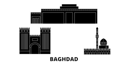 L'Irak, la ville de Bagdad voyage à plat ensemble d'horizon. Irak, panorama vectoriel de la ville noire de Bagdad, illustration, sites touristiques, monuments, rues.