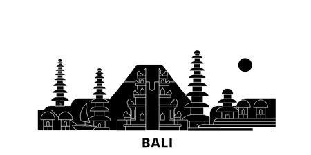 Indonesia, Bali flat travel skyline set. Indonesia, Bali black city vector panorama, illustration, travel sights, landmarks, streets.