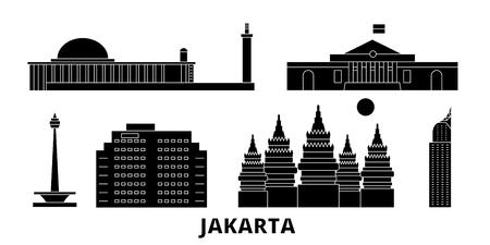 Indonesia, Jakarta flat travel skyline set. Indonesia, Jakarta black city vector panorama, illustration, travel sights, landmarks, streets.