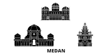 Indonesia, Medan flat travel skyline set. Indonesia, Medan black city vector panorama, illustration, travel sights, landmarks, streets.