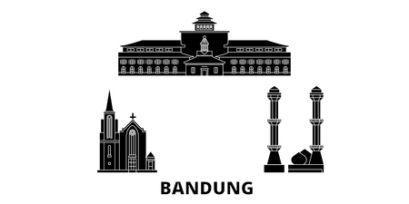 Indonesia, Bandung flat travel skyline set. Indonesia, Bandung black city vector panorama, illustration, travel sights, landmarks, streets. Illustration