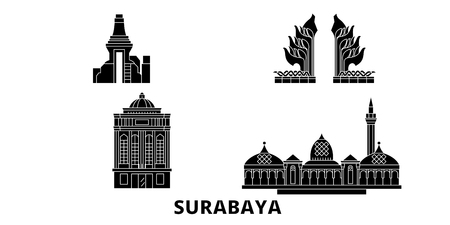 Indonesia, Surabaya flat travel skyline set. Indonesia, Surabaya black city vector panorama, illustration, travel sights, landmarks, streets.