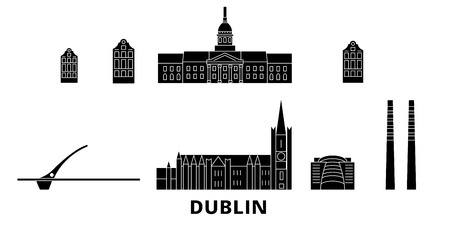 Irland, Dublin flat travel skyline set. Irland, Dublin black city vector panorama, illustration, travel sights, landmarks, streets. Ilustração
