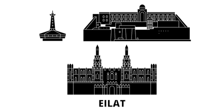 Israel, Eilat flat travel skyline set. Israel, Eilat black city vector panorama, illustration, travel sights, landmarks, streets. 일러스트