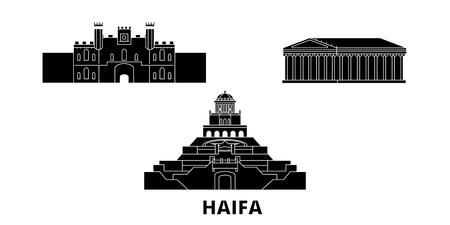 Israel, Haifa flat travel skyline set. Israel, Haifa black city vector panorama, illustration, travel sights, landmarks, streets. Illustration