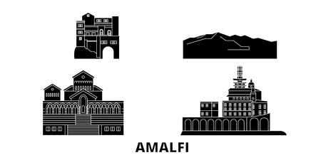 Italy, Amalfi flat travel skyline set. Italy, Amalfi black city vector panorama, illustration, travel sights, landmarks, streets.