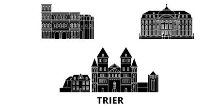 Germany, Trier flat travel skyline set. Germany, Trier black city vector panorama, illustration, travel sights, landmarks, streets.