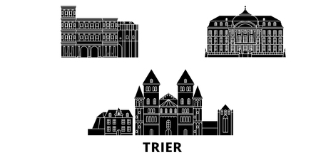 Germany, Trier flat travel skyline set. Germany, Trier black city vector panorama, illustration, travel sights, landmarks, streets.