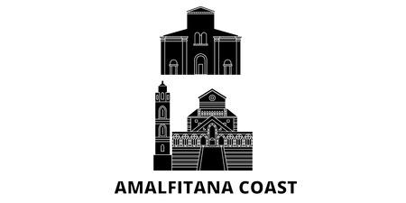 Italy, Amalfi Coast flat travel skyline set. Italy, Amalfi Coast black city vector panorama, illustration, travel sights, landmarks, streets.