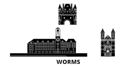 Germany, Worms flat travel skyline set. Germany, Worms black city vector panorama, illustration, travel sights, landmarks, streets.