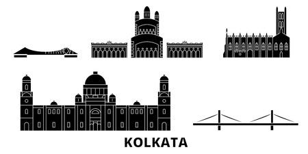 India, Kolkata flat travel skyline set. India, Kolkata black city vector panorama, illustration, travel sights, landmarks, streets. Illustration