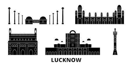 India, Lucknow flat travel skyline set. India, Lucknow black city vector panorama, illustration, travel sights, landmarks, streets. Illustration