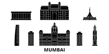 India, Mumbai flat travel skyline set. India, Mumbai black city vector panorama, illustration, travel sights, landmarks, streets.