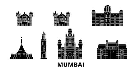 India, Mumbai 2 flat travel skyline set. India, Mumbai 2 black city vector panorama, illustration, travel sights, landmarks, streets.