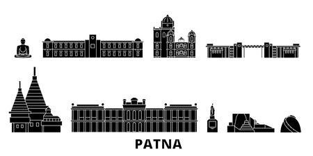 India, Patna flat travel skyline set. India, Patna black city vector panorama, illustration, travel sights, landmarks, streets. Illustration