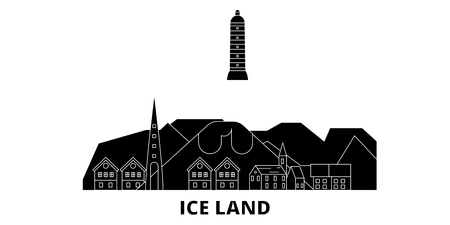 Iceland flat travel skyline set. Iceland black city vector panorama, illustration, travel sights, landmarks, streets.