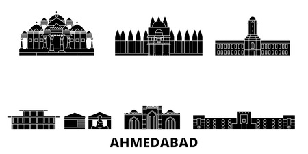 India, Ahmedabad flat travel skyline set. India, Ahmedabad black city vector panorama, illustration, travel sights, landmarks, streets.