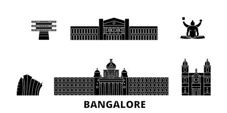 India, Bangalore flat travel skyline set. India, Bangalore black city vector panorama, illustration, travel sights, landmarks, streets.