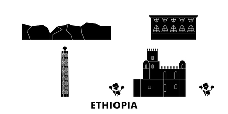 Ethiopia flat travel skyline set. Ethiopia black city vector panorama, illustration, travel sights, landmarks, streets.