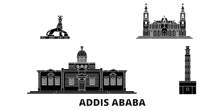 Ethiopia, Addis Ababa flat travel skyline set. Ethiopia, Addis Ababa black city vector panorama, illustration, travel sights, landmarks, streets.