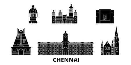 India, Chennai flat travel skyline set. India, Chennai black city vector panorama, illustration, travel sights, landmarks, streets.