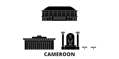 Cameroon flat travel skyline set. Cameroon black city vector panorama, illustration, travel sights, landmarks, streets.
