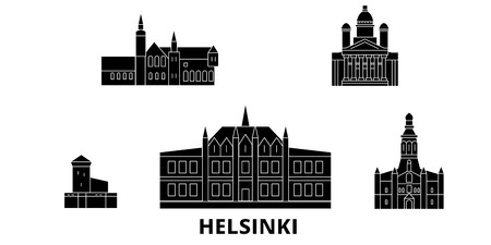 Finland, Helsinki flat travel skyline set. Finland, Helsinki black city vector panorama, illustration, travel sights, landmarks, streets.