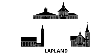 Finland, Lapland flat travel skyline set. Finland, Lapland black city vector panorama, illustration, travel sights, landmarks, streets.