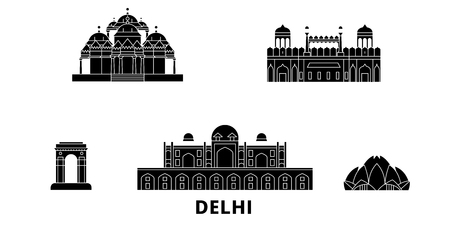 India, Delhi flat travel skyline set. India, Delhi black city vector panorama, illustration, travel sights, landmarks, streets.