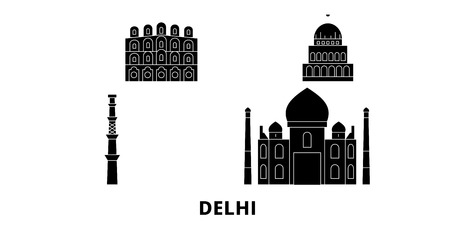 India, Delhi City flat travel skyline set. India, Delhi City black city vector panorama, illustration, travel sights, landmarks, streets. Illustration