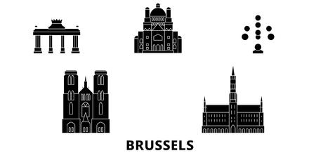 Belgium, Brussels flat travel skyline set. Belgium, Brussels black city vector panorama, illustration, travel sights, landmarks, streets.