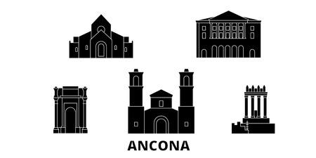 Italy, Ancona flat travel skyline set. Italy, Ancona black city vector panorama, illustration, travel sights, landmarks, streets. 向量圖像