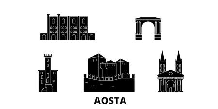 Italy, Aosta flat travel skyline set. Italy, Aosta black city vector panorama, illustration, travel sights, landmarks, streets.
