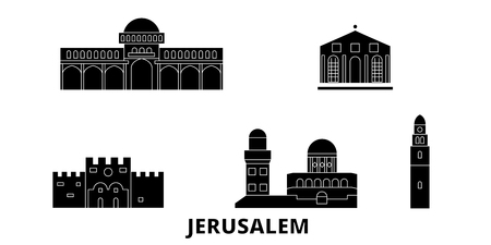 Israel, Jerusalem flat travel skyline set. Israel, Jerusalem black city vector panorama, illustration, travel sights, landmarks, streets.