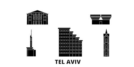 Istael, Tel Aviv flat travel skyline set. Istael, Tel Aviv black city vector panorama, illustration, travel sights, landmarks, streets. Illustration