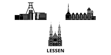 Germany, Lessen flat travel skyline set. Germany, Lessen black city vector panorama, illustration, travel sights, landmarks, streets.