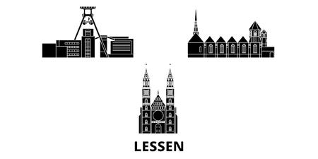 Germany, Lessen flat travel skyline set. Germany, Lessen black city vector panorama, illustration, travel sights, landmarks, streets.