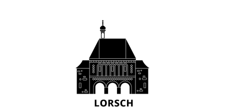 Germany, Lorsch flat travel skyline set. Germany, Lorsch black city vector panorama, illustration, travel sights, landmarks, streets. Illustration